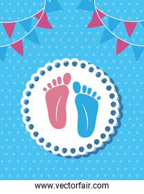 foot prints baby shower card