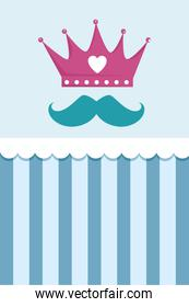 crown with heart and mustache