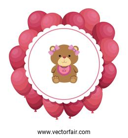 cutte little bear teddy female with bows and balloons helium