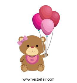 cute bear teddy female with bows and balloons helium