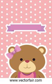 postcard with bear teddy female and bows