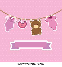 cute baby girl postcard set items hanging