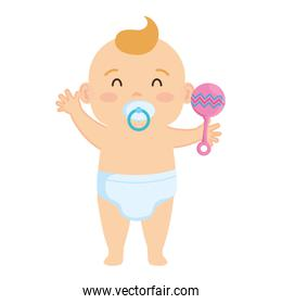 pretty little baby boy with pacifier and bell character