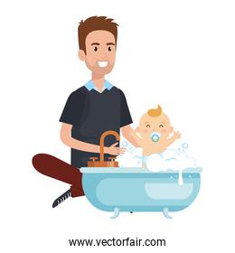 father with baby bathing in the bathtub