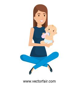 mother lifting little baby character