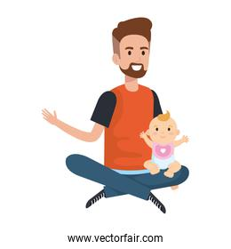father lifting little baby characters