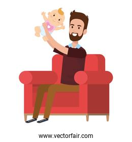 father lifting little baby in the sofa characters