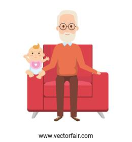 grandfather lifting little baby in the sofa characters