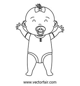 cute little baby girl with pacifier character