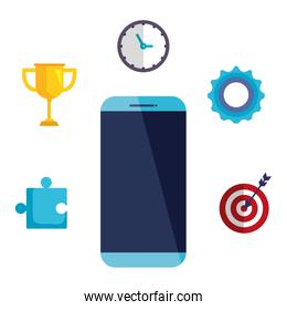 smartphone technology with business icons