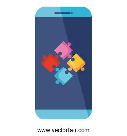 smartphone with puzzle game pieces solution