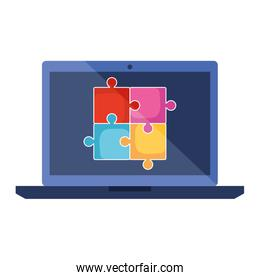 laptop with puzzle game pieces solution