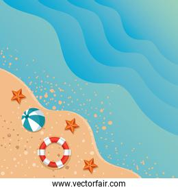 summer beach seascape with ocean and icons