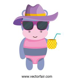 cute female hippo with summer hat and pineapple cocktail
