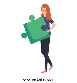 young woman lifting puzzle game piece