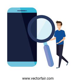 young man with smartphone and magnifying glass