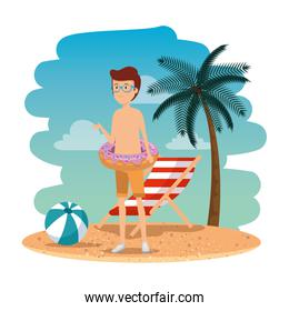 young man with swimsuit and float donut on the beach