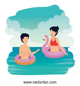 young couple with swimsuit on the sea characters