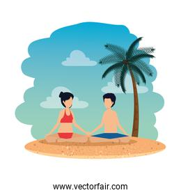 young couple with swimsuit practicing yoga on the beach