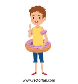 cute little boy with shirt and donut float