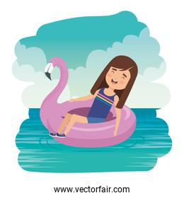 cute little girl lady with flemish float in the sea