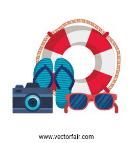 summer flip flops with camera and float