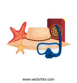 diving snorkel mask and passport with straw hat in the beach
