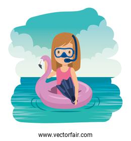 pretty little girl with flemish float and snorkel on the sea