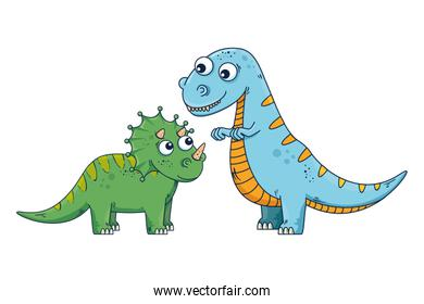 cute triceratops and tyrannosaurus rex characters