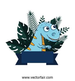 cute tyrannosaurus rex with exotic leafs frame