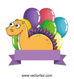pretty diplodocus with balloons helium frame