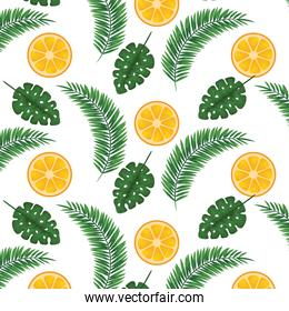 exotic leafs and oranges tropical pattern