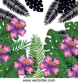 exotic leafs and flowers tropical pattern