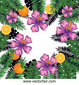 exotic leafs and flowers with oranges pattern