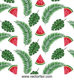 exotic leafs palms and watermelons pattern