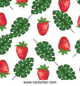 exotic leafs palms and strawberry pattern