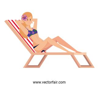 beautiful girl relaxing in beach chair with swimsut avatar character