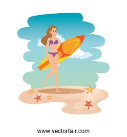 beautiful girl with swimsut and surfboard on the beach