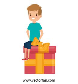 little school boy seated in giftbox