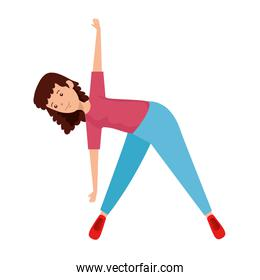 happy athletic girl practicing exercice