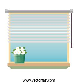 window with blind with house plant indoor scene over white