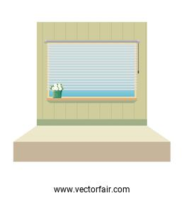 window with blind with house plant indoor scene