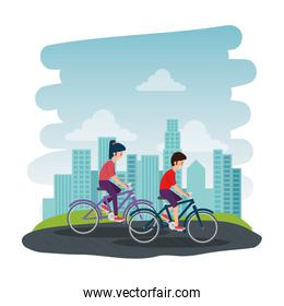 happy athletic couple ride bike on the park