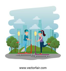 happy athletic couple in skateboard on the park