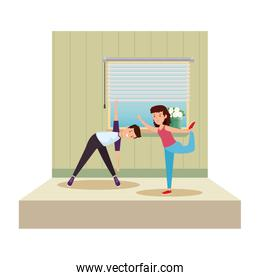 happy athletic couple practicing exercice on the gym