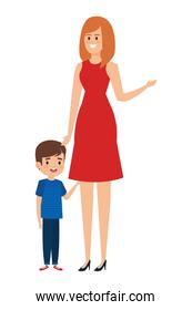 beautiful mother with little boy characters