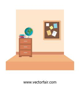 school classroom with with drawer and world map