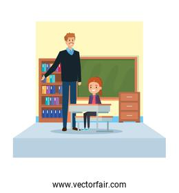 male teacher and girl seated in desk in classroom