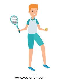 happy athletic boy with racket practicing tennis over white