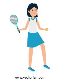 smiling athletic girl with racket practicing tennis